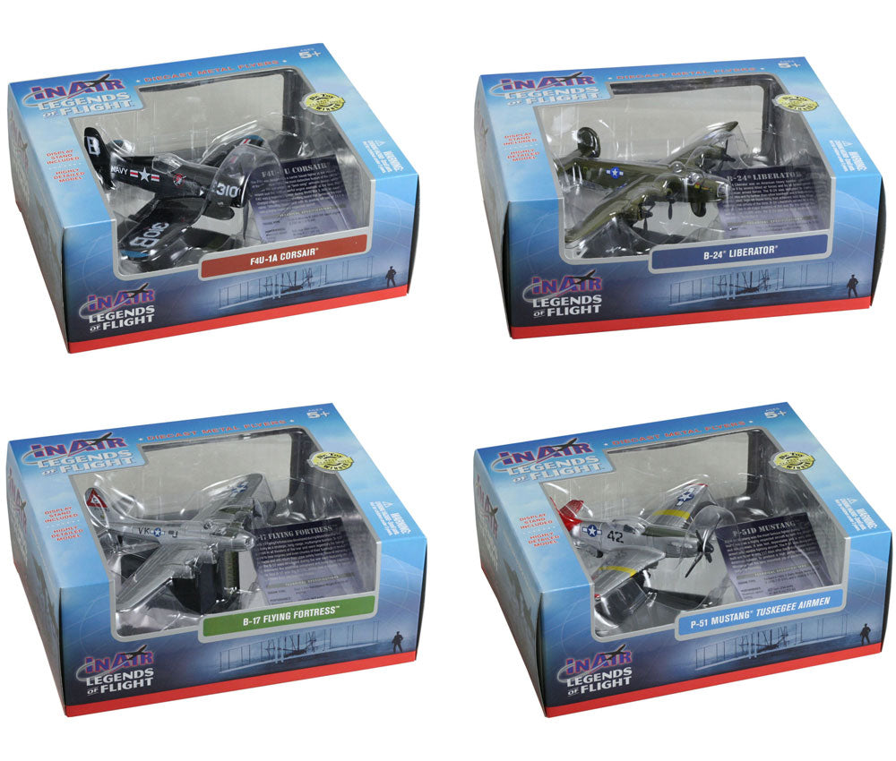 SET of 4 Sturdy Die Cast Metal Scale Replica of World War II Fighter Bomber Aircraft with Authentic Markings & Details, Display Stands and Educational Collectors Cards in their Original Packaging.