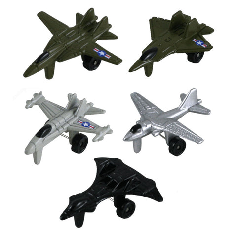 SET of 5 Mini Die Cast Metal Jet Fighters with Authentic Details and Free Spinning Wheels each measuring 1.5 Inches long.