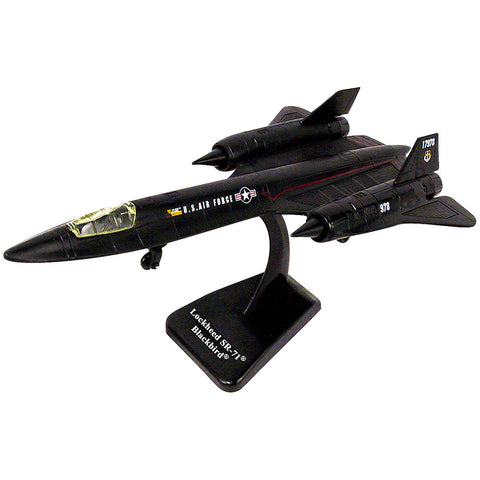 Highly Detailed 1:72 Scale Plastic Model Kit Replica of a Lockheed SR-71 Blackbird Stealth Reconnaissance Aircraft with Detailed Markings and Display Stand that Includes Everything Needed for Assembly.