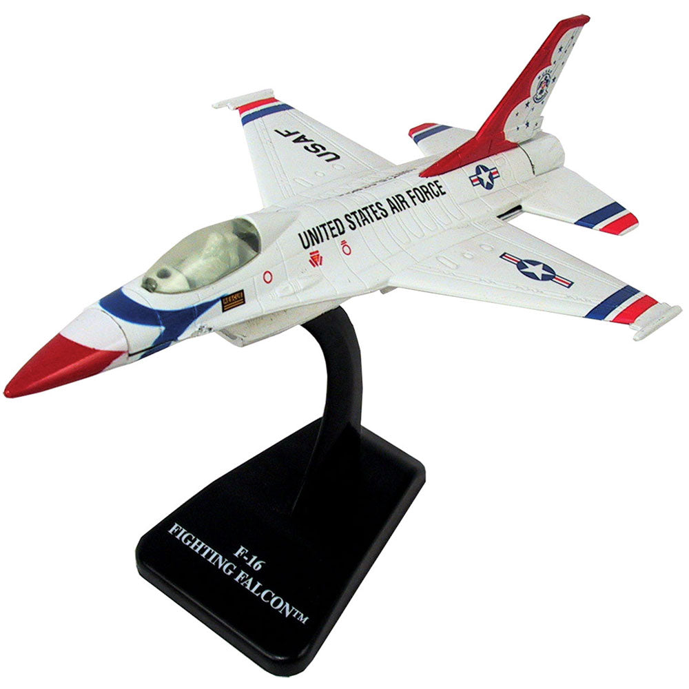 Highly Detailed 1:72 Scale Plastic Model Kit Replica of a General Dynamics F-16 Fighting Falcon Thunderbirds Fighter Aircraft with Detailed Markings and Display Stand that Includes Everything Needed for Assembly.