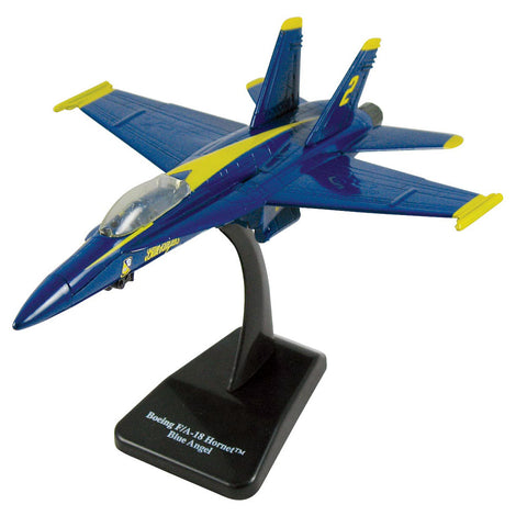 Highly Detailed 1:72 Scale Plastic Model Kit Replica of a McDonnell Douglas F/A-18 Hornet Blue Angels Fighter Aircraft with Detailed Markings and Display Stand that Includes Everything Needed for Assembly.