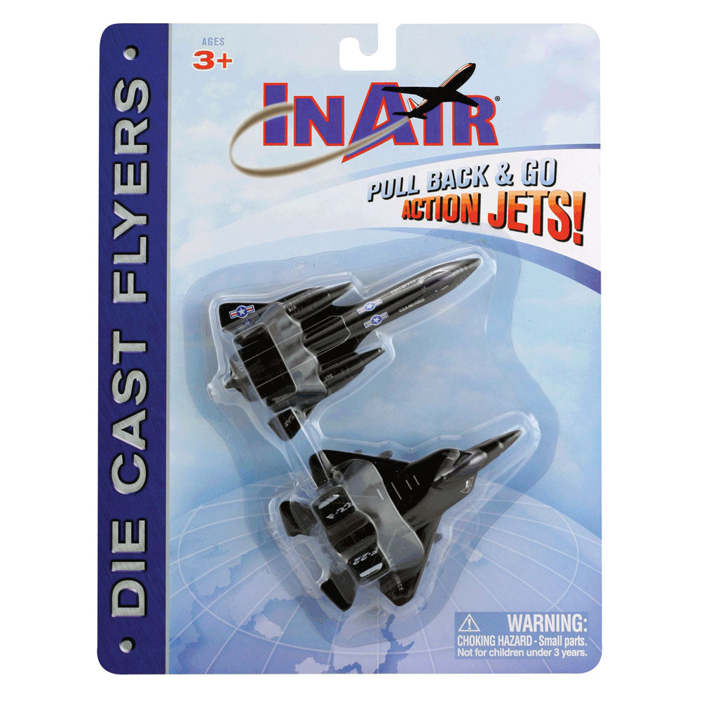 SET of 2 Durable Die Cast Stealth Reconnoissance Fighter Jet Aircraft featuring Friction Powered Pullback Action and Authentic Markings in its Original Packaging/