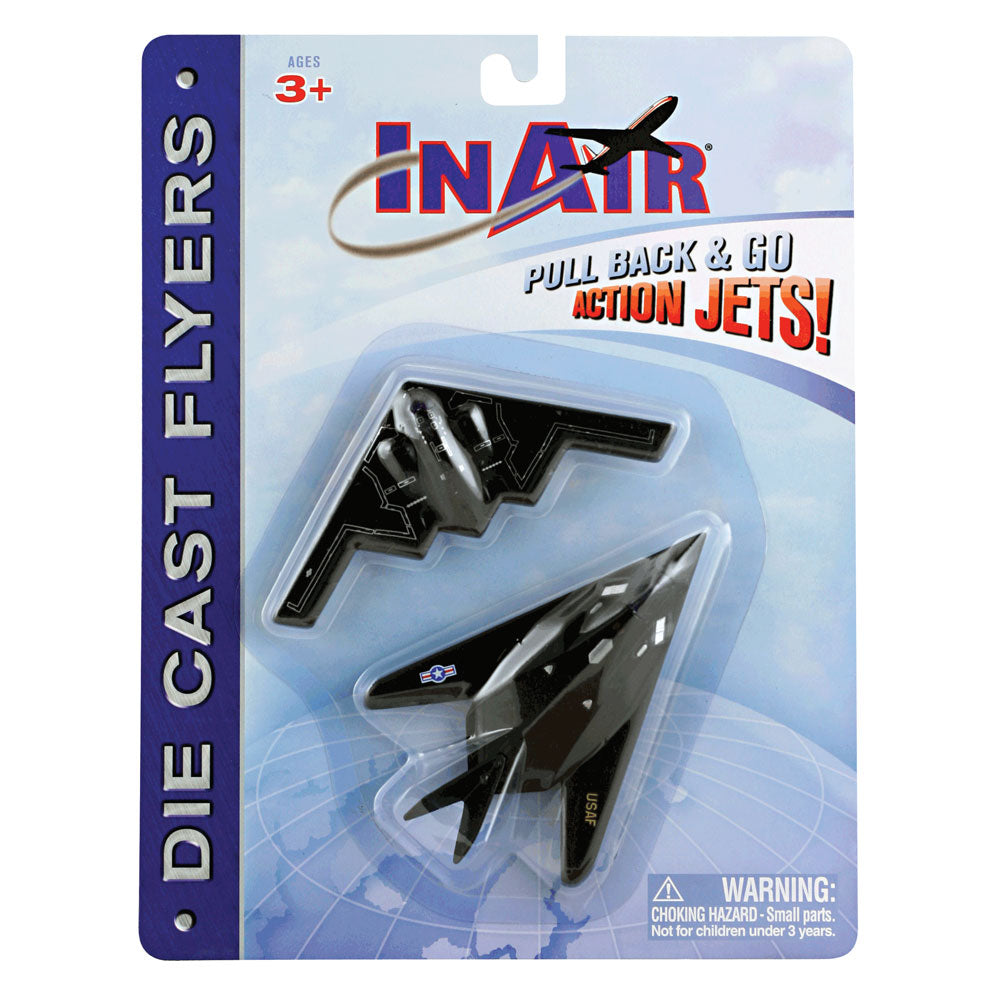 SET of 2 Durable Die Cast Stealth Bomber Fighter Jet Aircraft featuring Friction Powered Pullback Action and Authentic Markings in its Original Packaging/