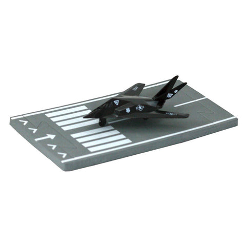 4.5 Inch Small Die Cast Metal Black Lockheed F-117 Nighthawk Stealth Attack Aircraft with Authentic Markings and Details and 1 Straight Section of Soft Flexible Modular Foam Runway that Interlock.
