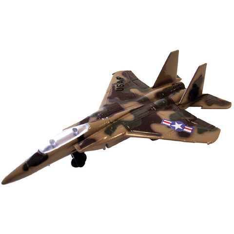 4.5 Inch Small Die Cast Metal McDonnell Douglas / Boeing Brown Camouflage F-15 Eagle Fighter Aircraft with Authentic Markings and Details by RedBox / Motormax.