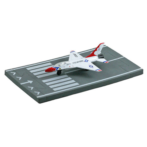 4.5 Inch Small Die Cast Metal General Dynamics F-16 Fighting Falcon Thunderbirds Aircraft with 1 Straight Section of Soft Flexible Modular Foam Runway that Interlock.