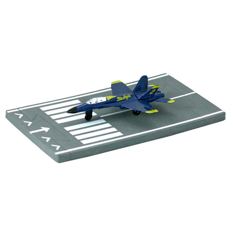 4.5 Inch Small Die Cast Metal Blue McDonnell Douglas F/A-18 Hornet Blue Angels Aircraft with Authentic Markings and Details and 1 Straight Section of Soft Flexible Modular Foam Runway that Interlock.