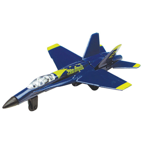 4.5 Inch Small Die Cast Metal Blue McDonnell Douglas F/A-18 Hornet Blue Angels Aircraft with Authentic Markings and Details by RedBox / Motormax.