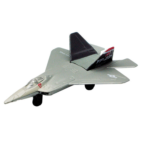 4.5 Inch Small Die Cast Metal Gray Lockheed Martin F-22 Raptor Stealth Fighter Aircraft with Authentic Markings and Details by RedBox / Motormax.