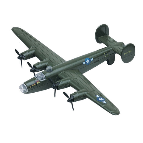 3.5 Inch Small Die Cast Metal Green Consolidated B-24 Liberator Bomber Aircraft with Authentic Markings and Details by RedBox / Motormax.