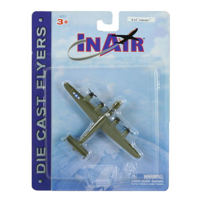 4.5 Inch Diecast Metal Green Lockheed B-24 Liberator Bomber Aircraft with Authentic Markings and Details InAir Diecast Flyer RedBox / Motormax.