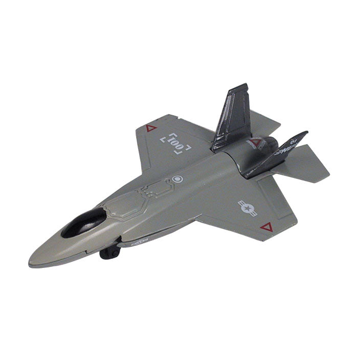 4.5 Inch Small Die Cast Metal Gray Lockheed Martin F-35 Lightning II Fighter Aircraft with Authentic Markings and Details by RedBox / Motormax.