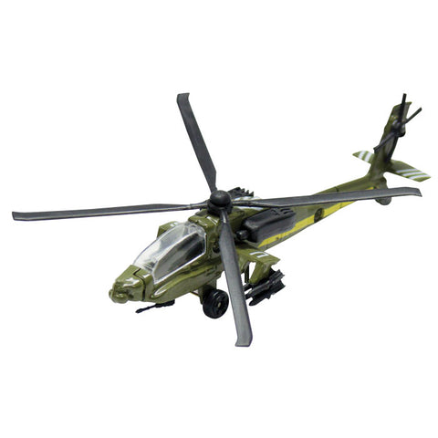 4.5 Inch Small Die Cast Metal Green Boeing AH-64 Apache Longbow Helicopter with Authentic Markings and Details by RedBox / Motormax.