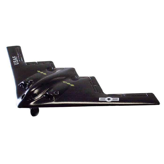 4.5 Inch Small Die Cast Metal Black Northrop Grumman B-2 Spirit Stealth Bomber with Authentic Markings and Details by RedBox / Motormax.