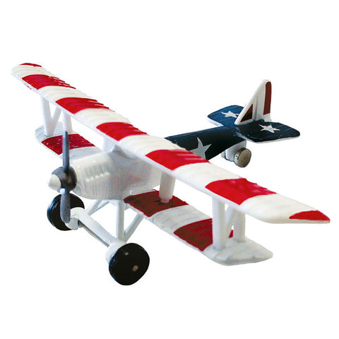 "4.5 Inch Small Die Cast Metal Red White & Blue Curtiss JN-4 ""Jenny"" Biplane US Army Training Aircraft and Later Civilian Aircraft with Authentic Markings and Details by RedBox / Motormax."
