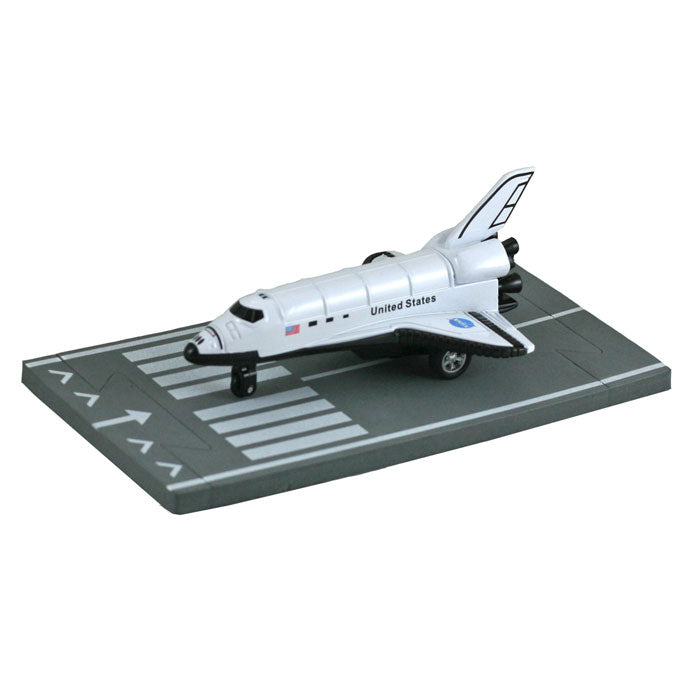 4.5 Inch Small Die Cast Metal NASA Space Shuttle Orbiter with Authentic Markings and Details and 1 Straight Section of Soft Flexible Modular Foam Runway that Interlock.