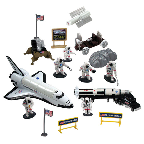 Deluxe 20 Piece Die Cast Metal and Plastic Playset including Space Shuttle Orbiter, Saturn V Rocket with Payload Tow Truck, Lunar Lander & Rover, 6 Astronauts, Terrain, Plastic Accessories and Educational Rocket Poster.