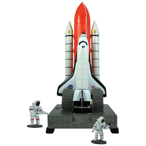 Deluxe 12 inch Tall Space Shuttle Launch Center Playset with Space Shuttle Orbiter featuring removable Rocket Boosters, Metal Bay Doors Open to Reveal a Satellite, 2 Plastic Astronauts & Educational Rocketry Poster.