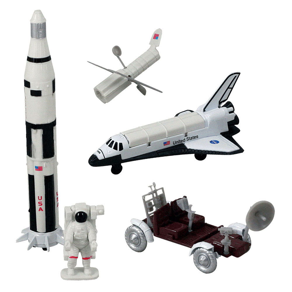 5 Piece Die Cast Metal and Plastic NASA Rocket Adventure Fleet Playset including Space Shuttle Orbiter, Saturn V Rocket, Lunar Rover, Satellite and Astronaut in EMU Space Suit.