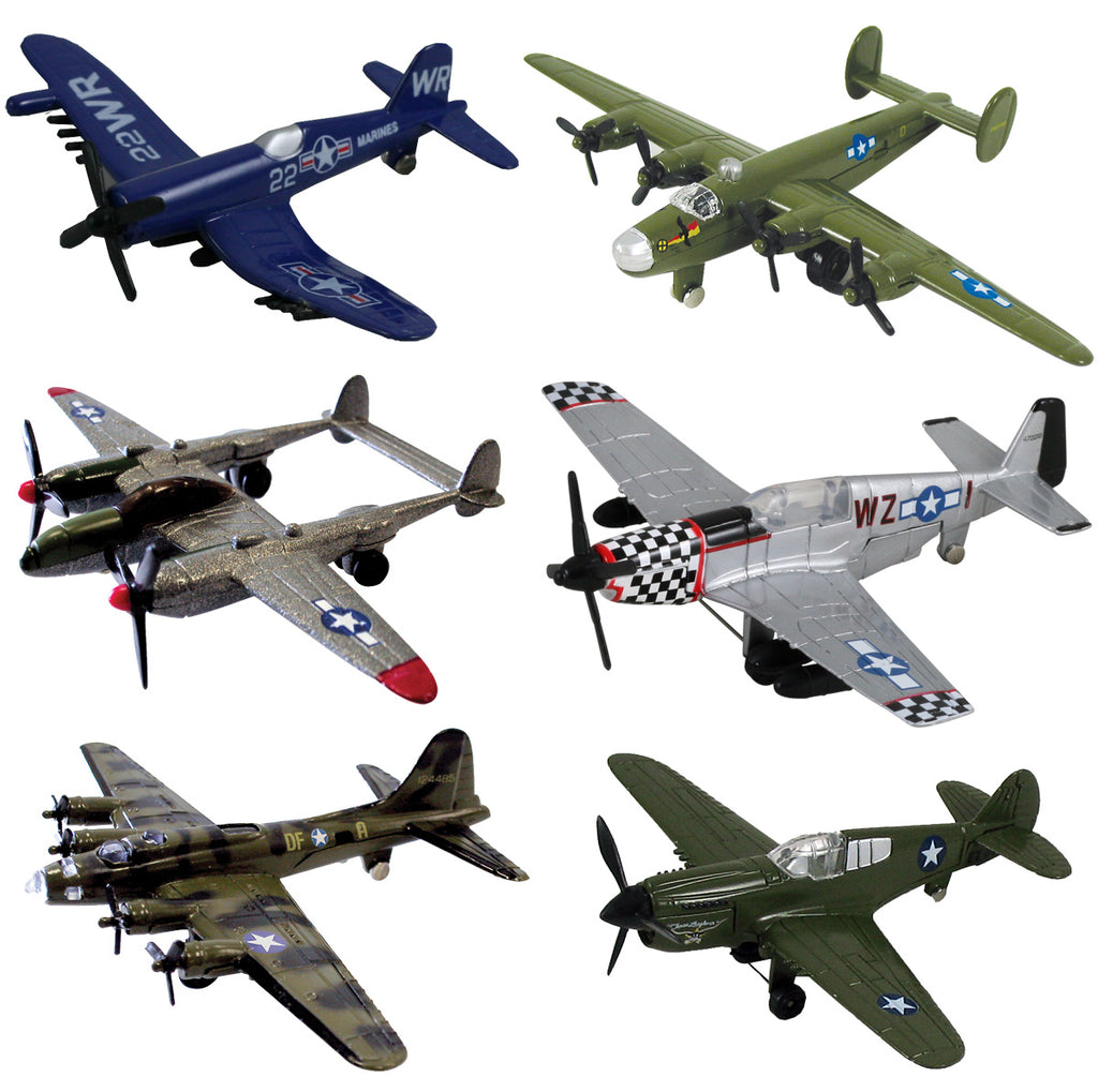 Assortment of authentically detailed, bestselling WW2 WWII airplanes including the B-17 Flying Fortress, F4U Corsair, P-40 Warhawk, P-51 Mustang, P-38 Lightning and the B-24 Liberator. This set now includes an informative World War II aircraft fact sheet and aircraft identification guide InAir Diecast Flyers Boeing Lockheed Northrup Grumman licensed toy airplane models.