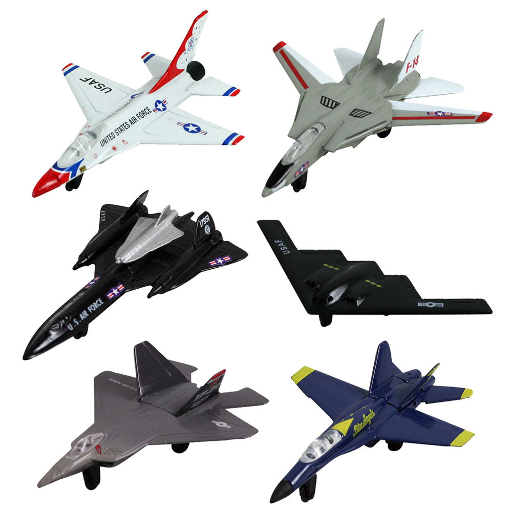 SET of 6 Durable Diecast Metal Modern Fighter and Bomber toy airplanes including B-2 Spirit Stealth Bomber, F-18 Hornet Blue Angels, F-14 Tomcat, F-16 Fighting Falcon Thunderbirds, YF-22 Raptor & SR-71 Blackbird. Comes with Aircraft Identification Guide. Officially licensed Lockheed and Boeing aircraft. InAir Diecast Flyers