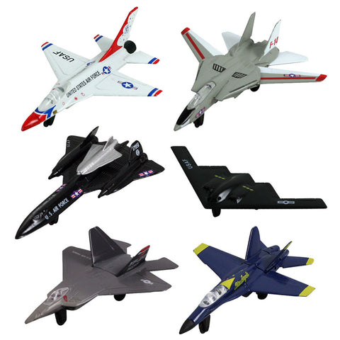 SET of 6 Durable Die Cast Metal Modern Fighter and Bomber Aircraft including B-2 Spirit Stealth Bomber, F-18 Hornet Blue Angels, F-14 Tomcat, F-16 Fighting Falcon Thunderbirds, YF-22 Raptor & SR-71 Blackbird. Comes with Aircraft Identification Guide.