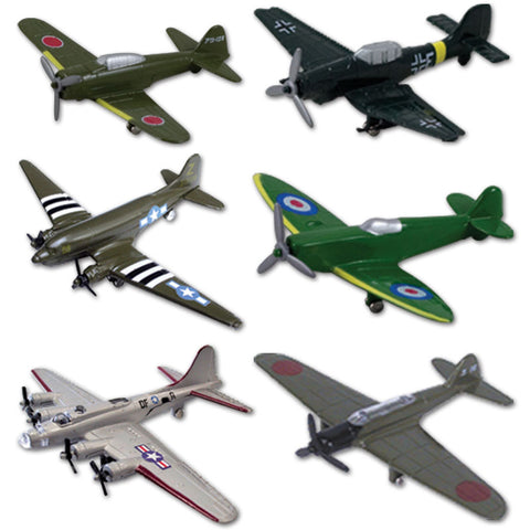 SET of 6 Durable Die Cast Metal World War II Fighter and Bomber Aircraft including C-47 (military DC-3), Supermarine Spitfire, Zero Fighter, Junkers Ju 87, B-17 Flying Fortress (Silver) & D4Y3 Judy. Comes with Aircraft Identification Guide.