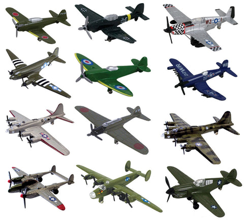 InAir WWII Planes with Aircraft ID Guide - Assortment 1 & Assortment 2 - SET of 12