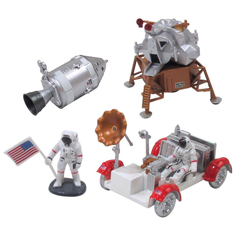 Highly Detailed Plastic Model Kit Replica of a NASA Lunar Command Module, Lunar Rover, Lunar Lander and Astronaut with American Flag that Includes Everything Needed for Assembly and is Built Up in about 10 Minutes.