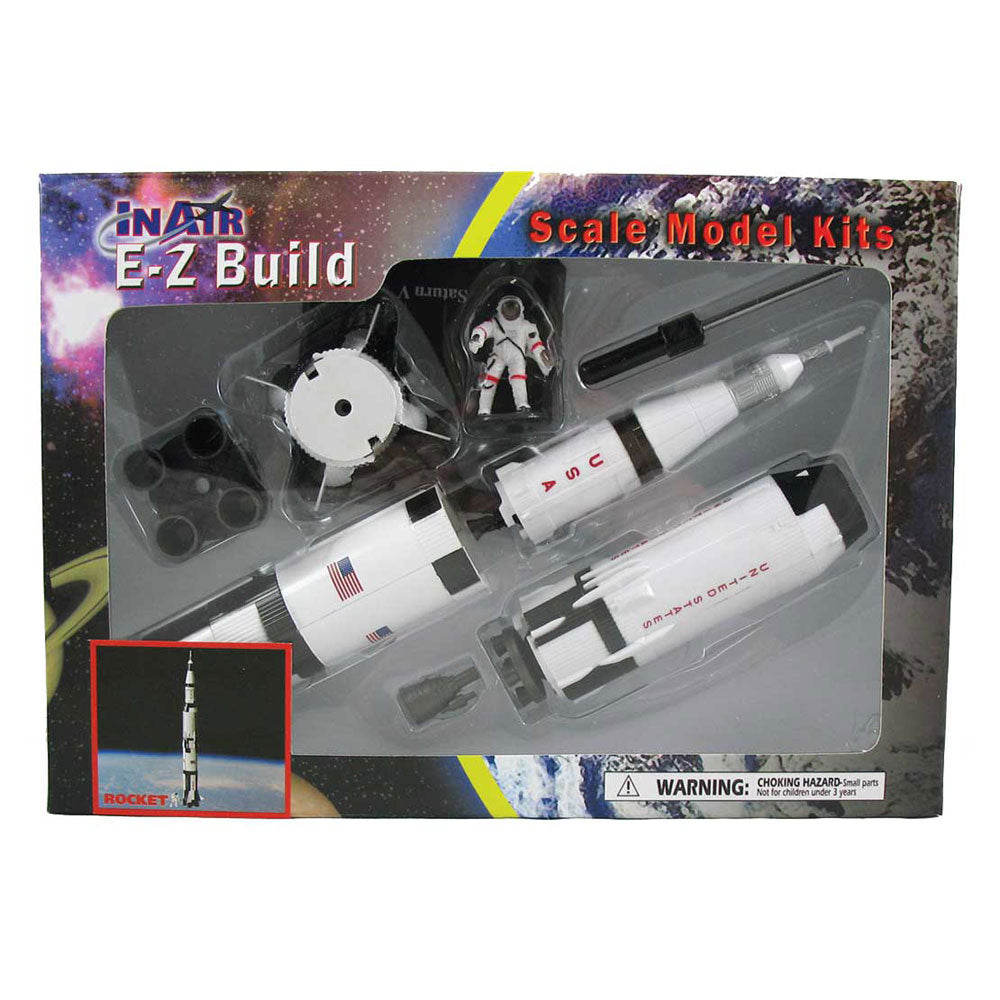 Highly Detailed Plastic Model Kit Replica of the NASA Apollo Space Program Three-Stage Saturn V Rocket with Detailed Markings, Display Stand and Astronaut in its Original Packaging.