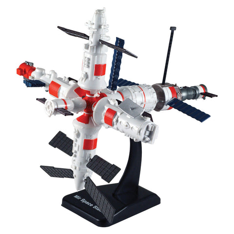 Highly Detailed Plastic Model Kit Replica of the Soviet MIR Low Earth Orbit Space Station with Detailed Markings, and Display Stand that Includes Everything Needed for Assembly.