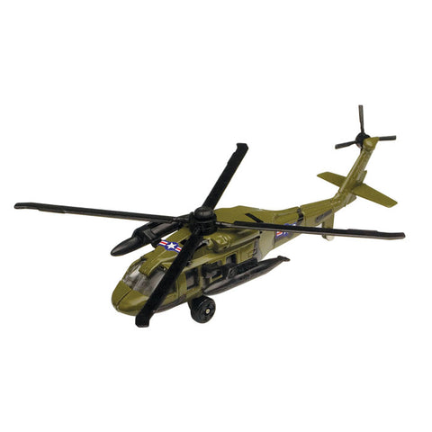 3.5 Inch Small Die Cast Metal Green Sikorsky UH-60 Night Hawk Helicopter with Authentic Markings and Details by RedBox / Motormax.