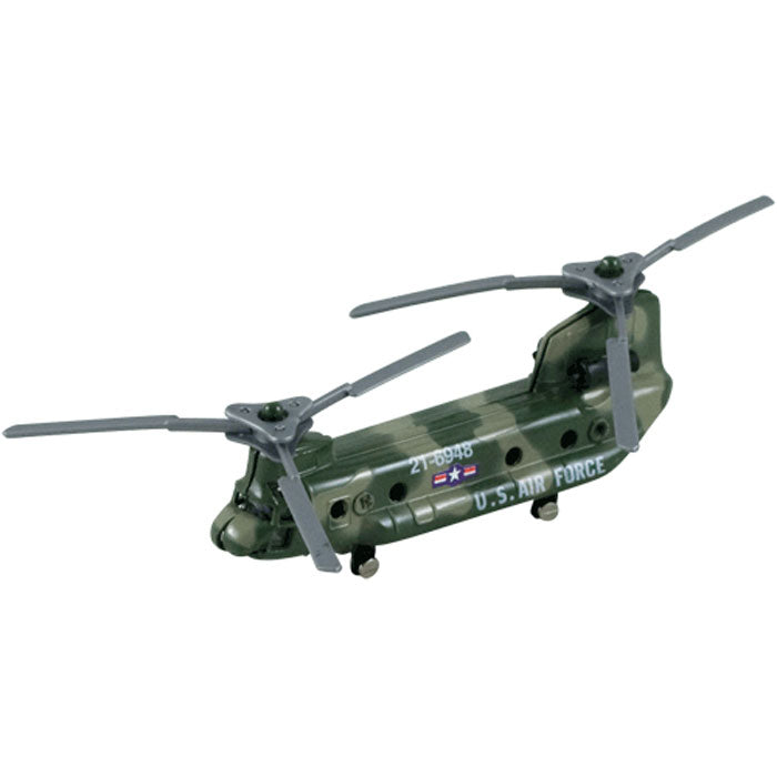 3.5 Inch Diecast Metal Boeing Green Camouflage CH-47 Chinook Transport and Supply Helicopter with Authentic Markings and Details InAir Diecast Flyer RedBox / Motormax.