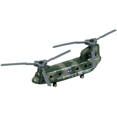 3.5 Inch Small Die Cast Metal Boeing Green Camouflage CH-47 Chinook Transport and Supply Helicopter with Authentic Markings and Details by RedBox / Motormax.
