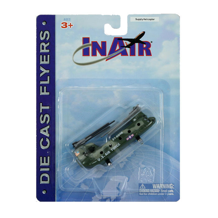 3.5 Inch Diecast Metal Boeing Green Camouflage CH-47 Chinook Transport and Supply Helicopter with Authentic Markings and Details in its Original Packaging InAir Diecast Flyer RedBox / Motormax.