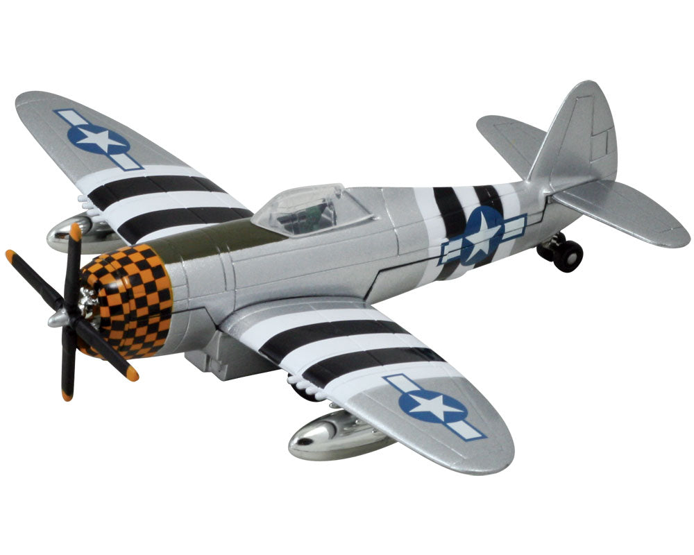 8 Inch Die Cast Metal and Plastic Friction Powered Pullback Republic P-47 Thunderbolt World War II Fighter Aircraft with Historically Accurate Markings and Checkered Nose Cone.