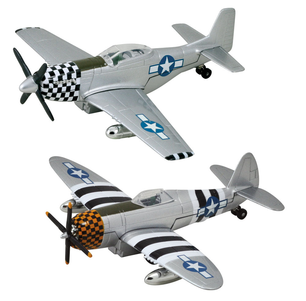 SET of 2 Die Cast Metal and Plastic Friction Powered Pullback World War II Fighter Aircraft with Historically Accurate Markings. 8 Inch North American P-51 Mustang and 8 Inch Republic P-47 Thunderbolt with Checkered Nose Cones.