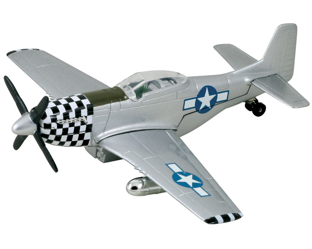 8 Inch Die Cast Metal and Plastic Friction Powered Pullback North American P-51 Mustang World War II Fighter Aircraft with Historically Accurate Markings and Checkered Nose Cone.