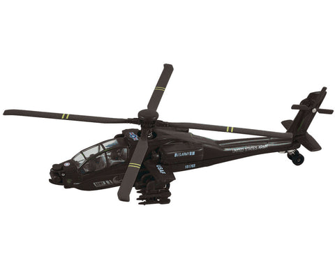 8 Inch Die Cast Metal and Plastic Friction Powered Pullback Boeing AH-64 Apache Military Attack Helicopter with Spinning Rotors in Black.