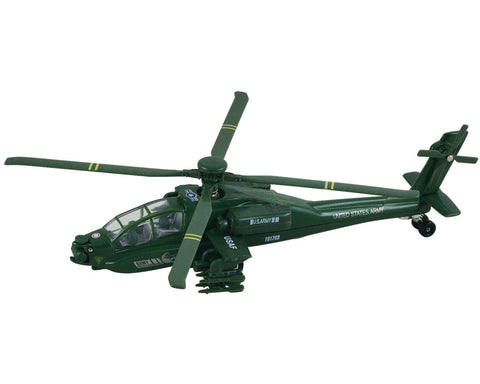 8 Inch Die Cast Metal and Plastic Friction Powered Pullback Boeing AH-64 Apache Military Attack Helicopter with Spinning Rotors in Green.