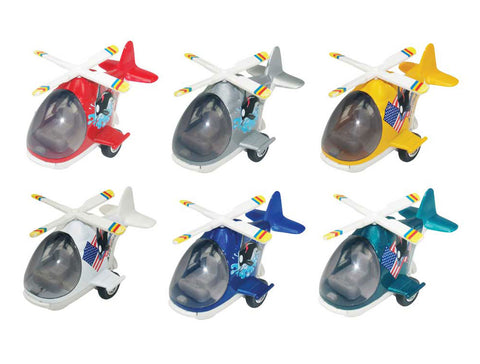 SET of 6 Friction-Powered Colorful Helicopters with Cockpits that Open and  Propellers that Spin when the toys zoom forward.