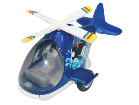 Friction-Powered Colorful Blue Helicopter with Cockpit that Opens and Propeller that Spins when the toy zooms forward.