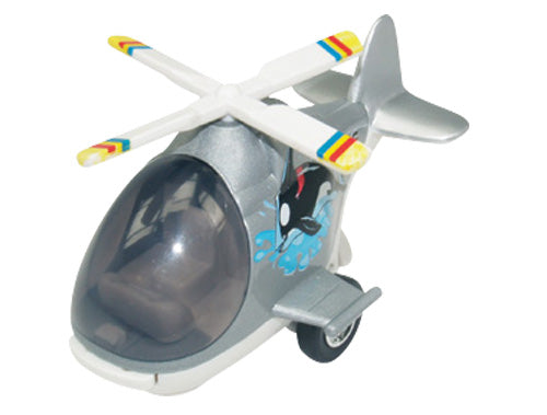 Friction-Powered Colorful Silver Helicopter with Cockpit that Opens and Propeller that Spins when the toy zooms forward.