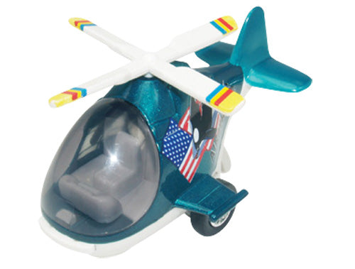 Friction-Powered Colorful Turquoise Helicopter with Cockpit that Opens and Propeller that Spins when the toy zooms forward.
