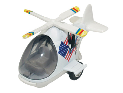 Friction-Powered Colorful White Helicopter with Cockpit that Opens and Propeller that Spins when the toy zooms forward.