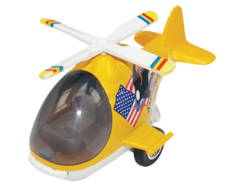 Friction-Powered Colorful Yellow Helicopter with Cockpit that Opens and Propeller that Spins when the toy zooms forward.