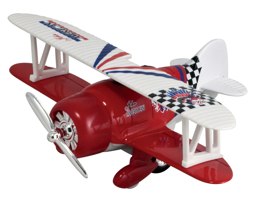 Friction-Powered Red Biplane Pullback Airplane with Propeller that Spins when the Toy Zooms Forward.