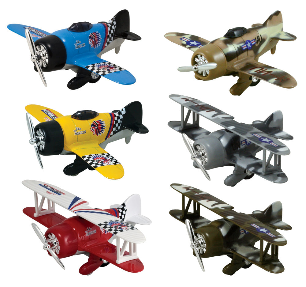 SET of 6 Friction-Powered Colorful, Camouflage, Monoplane and Biplane Pullback Airplanes with Propellers that Spin when the Toys Zoom Forward.