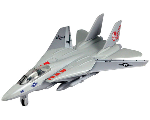 9 Inch Die Cast Metal and Plastic Friction Powered Pullback Northrop Grumman F-14 Tomcat Sweep Wing Fighter Aircraft in Gray with Historically Accurate Markings and Movable Sweep Wings.