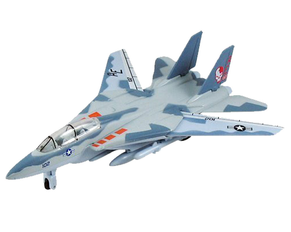 9 Inch Die Cast Metal and Plastic Friction Powered Pullback Northrop Grumman F-14 Tomcat Sweep Wing Fighter Aircraft in Smoke Camouflage with Historically Accurate Markings and Movable Sweep Wings.